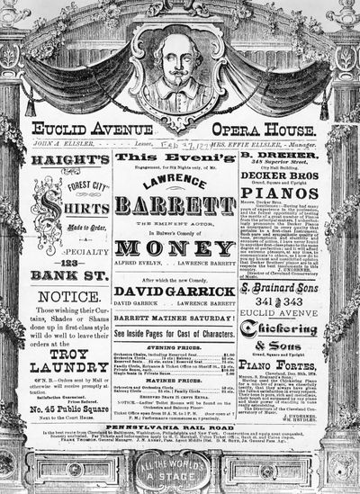 Money-David Garrick-Euclid Opera House-Playbill-1877
