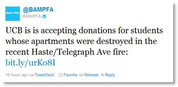 BAMPFA fire tweet