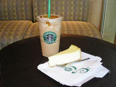 Starbucks vanilla frappuccino and cheesecake