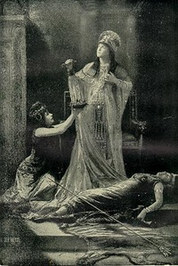 Miss Lillie Langtry as Cleopatra, with unidentified stuntserpent, 1890